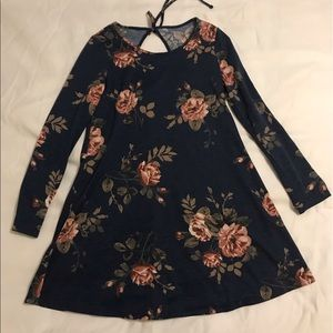 Navy and floral tie back dress. Medium.